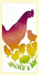 "SKU#193 Hand screen printed by Hawaii artist Janet Holaday on Oahu, Hawaii. This beautifully colored Hawaiian Hen & Chicks towel is printed on 100% woven cotton using environmentally friendly inks. Measures 18"" x 30."" Makes a great addition to any kitchen!"