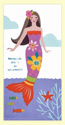 "SKU#7511 ""Mermaid's Don't Do Housework"" dual purpose hand towel - flat weave on one side, terry for absorbency on the other. This colorful hand towel makes a great addition to any home. 100% cotton, measures 17"" x 28."""