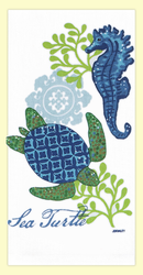 "Sea turtle and seahorse flour sack towel makes a great addition to any home. This towel is printed on 100% cotton flour sack and measures 17"" x 28."""
