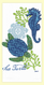 """Sea turtle and seahorse flour sack towel makes a great addition to any home. This towel is printed on 100% cotton flour sack and measures 17"""" x 28."""""""