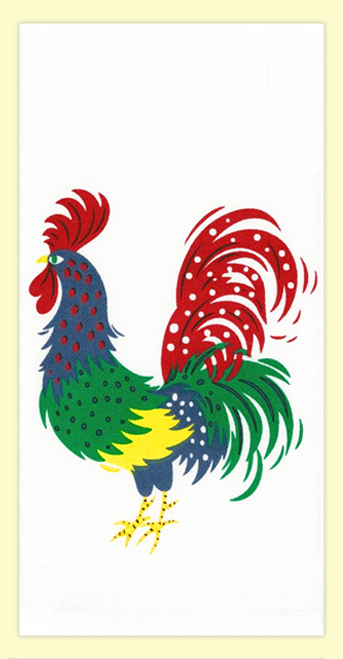 "SKU#5387 Vintage Rooster design on high quality 100% cotton flour sack towel. Mr.Bird makes a great addition to any kitchen. This towel measures 17"" x 24""."