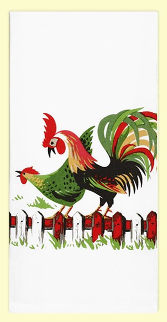"""SKU#1430 Vintage rooster & hen design on high quality 100% cotton flour sack towel. This vintage design makes a great addition to any kitchen. This towel measures 17"""" x 24""""."""