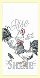"SKU#7592  Beautifully embroidered roosters ""Rise & Shine"" on 100% cotton flour sack towel. This towel makes a great addition to any kitchen. This towel measures 17"" x 28""."