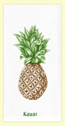 "SKU#6077 Kauai Pineapple dual purpose hand towel - the printed side is absorbent waffle weave, with extra absorbent terry cloth weave on the other side. This colorful ""Kauai"" hand towel makes a great addition to any home. 100% cotton, measures 18"" x 28."""