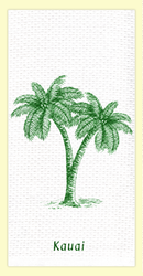 "SKU#6078 Kauai Palm Trees dual purpose hand towel - the printed side is absorbent waffle weave, with extra absorbent terry cloth weave on the other side. This colorful ""Kauai"" hand towel makes a great gift or addition to any home. 100% cotton, measures 18"" x 28."""