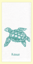 """SKU#6079 Kauai Sea Turtle dual purpose hand towel - the printed side is absorbent waffle weave, with extra absorbent terry cloth weave on the other side. This colorful """"Kauai"""" hand towel makes a great gift or addition to any home. 100% cotton, measures 18"""" x 28."""""""