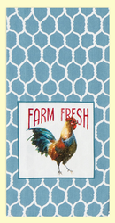"""SKU#7596 Vintage Rooster print on blue chicken wire background - 100% woven cotton towel. This towel makes a great gift or addition to any kitchen. This towel measures 17"""" x 28""""."""