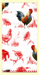 """SKU#6900 Vintage Rooster overall print on flour sack pre-washed 100% cotton towel. Bottom edge is decoratively embroidered. This towel makes a great gift or addition to any kitchen. This towel measures 18"""" x 26."""""""
