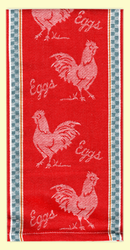 """SKU#7273 Vintage Rooster design Jacquard woven 100% cotton towel. This towel makes a great gift or addition to any kitchen. This towel measures 18"""" x 28""""."""