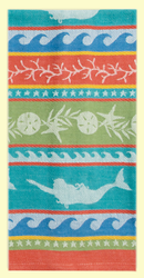 """SKU#7510 """"Seas the Day"""" Mermaid and Sea Life design beautifully Jacquard woven - 100% cotton towel. This towel makes a great gift or addition to any kitchen. This towel measures 18"""" x 28""""."""