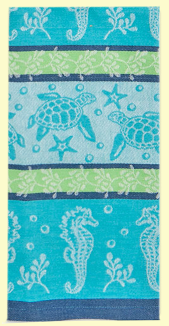 """SKU#7582 Sea Turtles and sea life design beautifully Jacquard woven - 100% cotton towel. This towel makes a great gift or addition to any kitchen. This towel measures 18"""" x 28""""."""