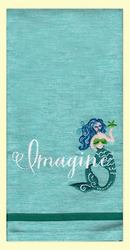 """SKU #7512 Mermaid """"Imagine"""" embroidered chambray hand towel. This colorful hand towel is a great gift for the mermaid in your life!. 100% cotton, measures 18"""" x 28."""""""