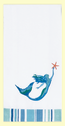 "SKU #Wish Mermaid ""Wish upon a Starfish"" embroidered hand towel with decorative stripe bottom border. This colorful hand towel is a great gift for the mermaid in your life!. 100% cotton, measures 18"" x 28."""