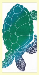 "SKU#HHonu Hand screen printed by Hawaii artist Janet Holaday on Oahu, Hawaii. This beautifully colored Honu (Hawaiian Sea Turtle)  towel is printed on 100% woven cotton using environmentally friendly inks. Measures 18"" x 30."" Makes a great addition to any kitchen!"