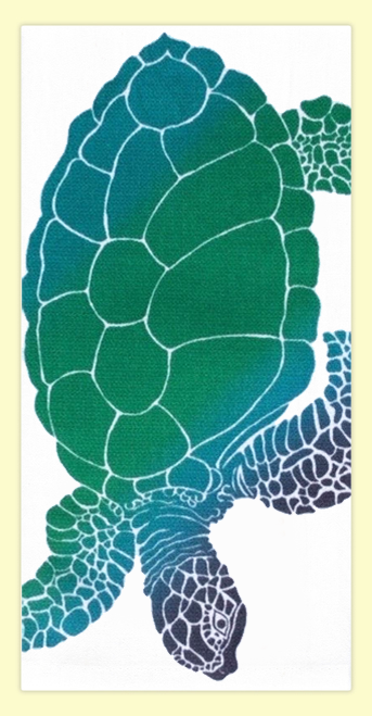 """SKU#HHonu Hand screen printed by Hawaii artist Janet Holaday on Oahu, Hawaii. This beautifully colored Honu (Hawaiian Sea Turtle)  towel is printed on 100% woven cotton using environmentally friendly inks. Measures 18"""" x 30."""" Makes a great addition to any kitchen!"""