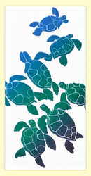 """SKU#HHFamily Hand screen printed by Hawaii artist Janet Holaday on Oahu, Hawaii. This beautifully colored Hawaiian Honu Family (sea turtles) towel is printed on 100% woven cotton using environmentally friendly inks. Measures 18"""" x 30."""" Makes a great addition to any kitchen!"""