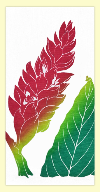 """SKU#HHGinger Hand screen printed by Hawaii artist Janet Holaday on Oahu, Hawaii. This beautifully colored Red Ginger flower towel is printed on 100% woven cotton using environmentally friendly inks. Measures 18"""" x 30."""" Makes a great addition to any kitchen!"""