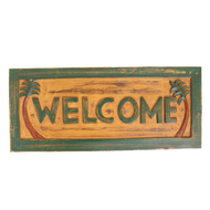 Tropical Carved Wood Welcome Sign
