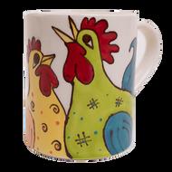 Whimsical Chickens - 16oz Coffee Mug - Front