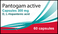 PANTOGAM ACTIVE®, (Hopantenic acid, GABA) 60 caps/pack, 300 mg/cap