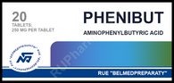 PHENIBUT® (aka Phenibut-R, Fenibut, Phenybut), 20pills/pack, 250mg/pill