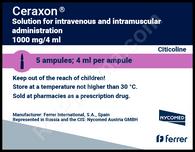 CERAXON®, (aka Citicoline, Cognizin, NeurAxon, Somazina, Synapsine) 5ampuls/pack, 1000mg(4ml)/ampul