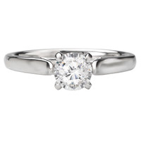 14KW CATHEDRAL SOLITAIRE RING D.25CT RD W/FDL