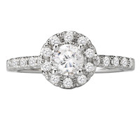 14KW ROM COM RD HALO DIA RING D3/4CTW, INCL 3/8CT RD