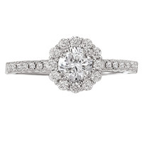 14KW ROMCOM RD HALO DIA RING  D3/4CTW, INCL 3/8CT RD