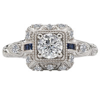 14KW ROM DIA/SAPPH ENGRV RING D5/8CT,S.08CT, INCL 3/8CT RD