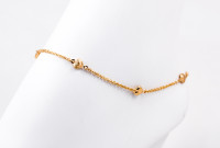 YELLOW GOLD ANKLETS, 21K, YGANKL009, Weight: 3.7g