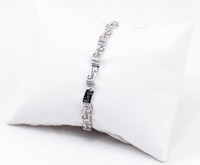 "WHITE GOLD BRACELET, WGBRA004, 18K, Size:7.5"", Weight: 10.5g"