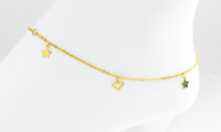 YELLOW GOLD ANKLETS, 21K, YGANKL030, Weight: 3.4g