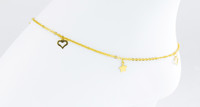 YELLOW GOLD ANKLETS, 21K, YGANKL033, Weight: 3.4g