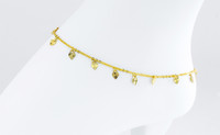 YELLOW GOLD ANKLETS, 21K, YGANKL034, Weight: 4.3g