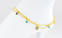 YELLOW GOLD ANKLETS, 21K, YGANKL036, Weight: 7.1g