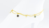 YELLOW GOLD ANKLETS, 21K, YGANKL037, Weight: 6.7g
