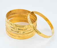 YELLOW GOLD BANGLES,SET OF 6, 21K, Size: Large, Weight: 79.5g, YGBANGL098