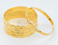 YELLOW GOLD BANGLES,SET OF 6, 21K, Size: Large, Weight: 99.7g, YGBANGL099
