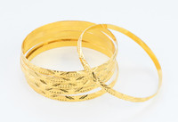 YELLOW GOLD BANGLES,SET OF 6, 21K, Size: Large, Weight: 72.6g, YGBANGL101