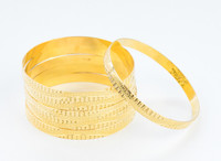 YELLOW GOLD BANGLES,SET OF 6, 21K, Size: Large, Weight: 101.4g, YGBANGL103