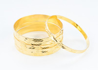 YELLOW GOLD BANGLES,SET OF 6, 21K, Size: Large, Weight: 87.4g, YGBANGL104
