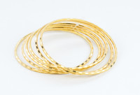 YELLOW GOLD BANGLES,SET OF 6, 21K, Size: Large, Weight: 28.2g, YGBANGL105