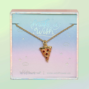 JW00509-GLD-OS-DYO - Pizza Necklace - Pepperoni - Enamel & Gold - Charm Pendant - Foodie Miniature Food Necklace - Wildflower + Co. Jewelry