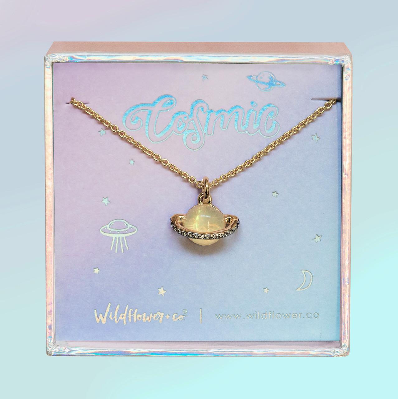 Crescent moon necklace Minimalistic necklace Moon necklace cosmic jewelry Planet necklace