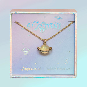 JW00510-GLD-OS-DYO - Planet Necklace - Saturn - Iridescent Pave & Gold - Charm Pendant - Space Cosmic - Wildflower + Co. Jewelry