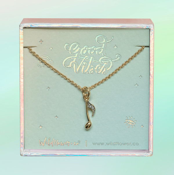 JW00511-GLD-OS-DYO - Music Note Necklace -Dainty Pave Crystal & Gold - Music Note Harmony - Wildflower + Co. Jewelry