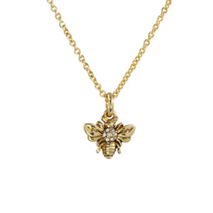 Bee Necklace, Pave Crystal & Gold