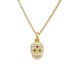 Sugar Skull Necklace (Dainty), Gold
