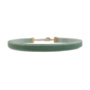 Velvet Choker Necklace, Sage